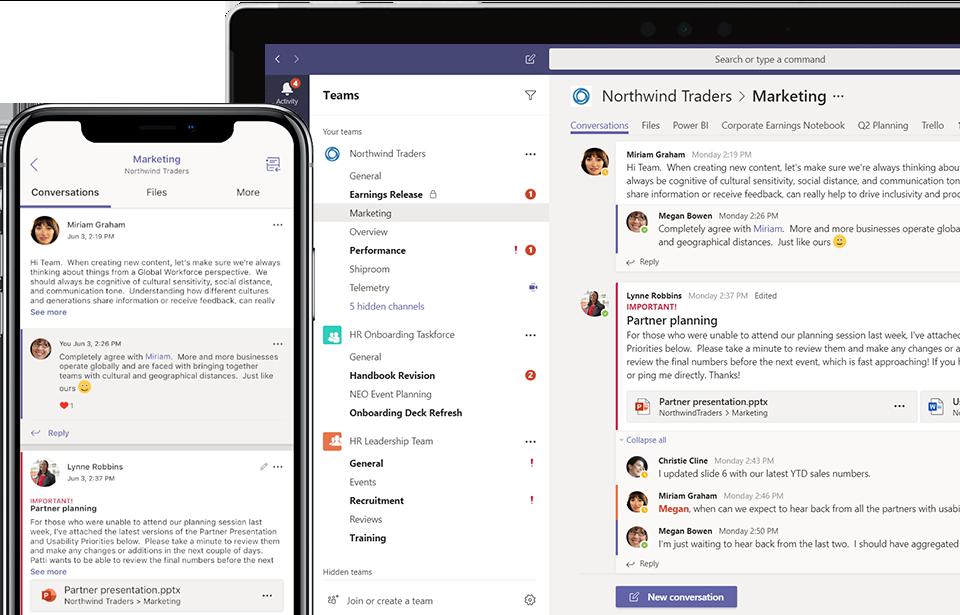 Microsoft teams: plataforma de chat y reuniones multi-dispositivo, para móvil, tablet y ordenador