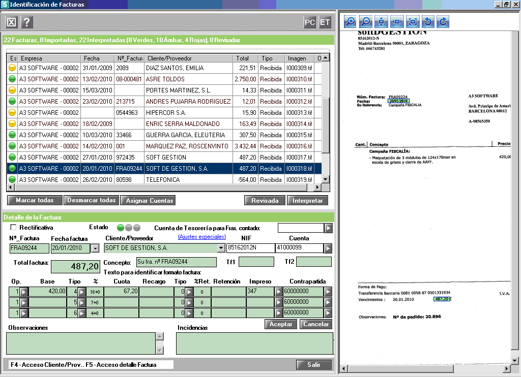 Pantalla de a3 asesor | scan